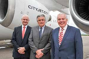 Happier times: Cathal O'Connell, Cityjet Commercial Director; Pat Byrne, CEO Cityjet and Niall MacCarthy, Managing Director at Cork Airport announcing the Cityjet three times daily service from Cork to London City airport which commenced October 2015