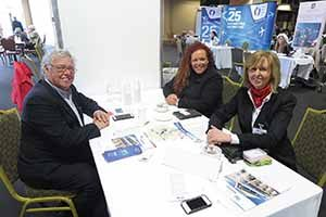 Jack Maraffi of Travelsavers with Joanna Spacey and Catherine Grennell Whyte of Affordable Car Hire at the Travel Industry Business Show 2015