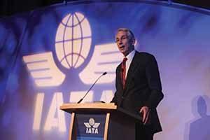 Tony Tyler speaking at a IATA passenger symposium in Dublin