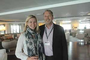 Julie Giraud and Stephen Winter who hosted travel agents on board the Ponant expedition ship, the Austral in Dublin port, May 9 2016