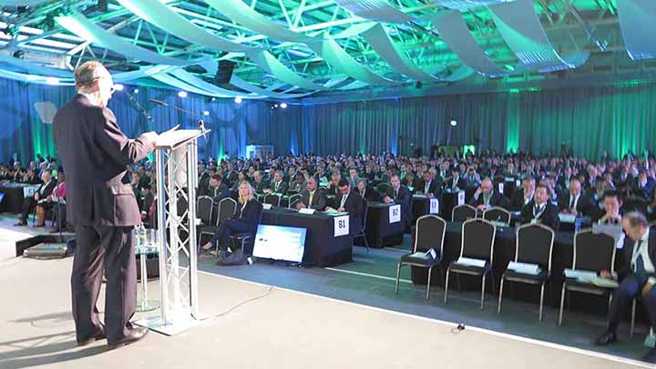 Shane Ross Minister for Tourism and Transport speaking at the AGM of IATA in Dublin, June 1 2016