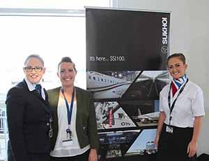 Lauren Daly, Michelle Maher and Katie Lyons of Sky Handling at the test flight of the Cityjet Superjet SSJ100, June 15 2016