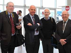 Paul Cunniffe of Irish Air Letter; Eamon Power, Antoin Daltún and Paddy Kilduff ex Aer Lingus at the test flight of the Cityjet Superjet SSJ100, June 15 2016