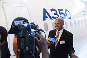 AerCap personnel at handover of Ethiopian's first A350 in Toulouse and ferry flight to Addis