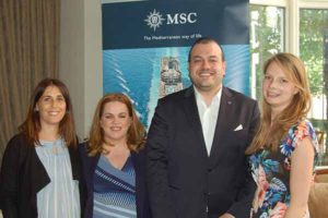Alessandra Pierleoni, Rebecca Kelly, Antonio Pradiso and Rose Darby of MSC who hosted travel media in Dublin, june 15 2016