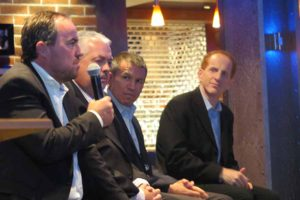 Christian Boell, Frances Riley, Andy Stuart and Harry Sommer of NCL hosting a press conference during the pre-launch cruise on NCL's new cruise ship Norwegian Escape out of Southampton, October 28 2015