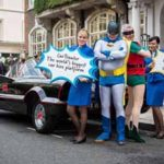 Ryanair CEO Michael O'Leary dressed as Robin adn Car Trawler CEO Mike McGearty dressed as Batman announcing the new partnership between the 2 companies, today August 25th, Lonodn, UK.