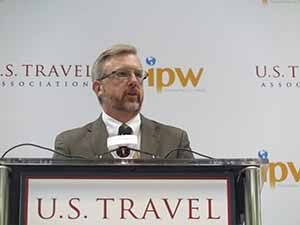 Todd Davidson Chair of the US Travel Association speaking at IPW 2016 in New Orleans, June 21 2016