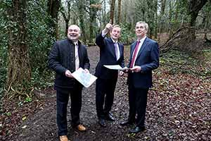 Center Parks CEO Martin Dalby, Taoiseach Enda Kenny and Mark Foley MD of Coillte Enterprise at the Ballymahon site in 2015