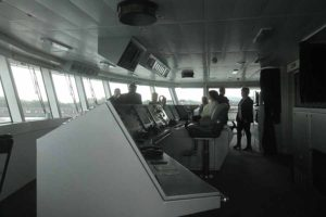 Travel agents visit the bridge on board the Ponant expedition ship, the Austral in Dublin port, May 9 2016