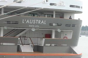 Ponant expedition ship, the Austral in Dublin port, May 9 2016