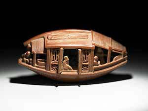 Carved olive-stone boat, Reign of Emperor Qiangl