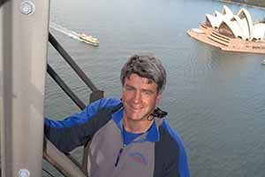 Eoghan Corry, editor of Travel Extra, during a Sydney Bridge Climb, May 23 2014