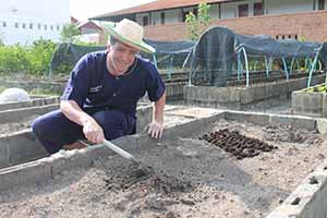 Irish travel writer Eoghan Corry of Travel Extra at Dr Prasert's Organic Agriculture Project, Sukhothai Airport on the pre-fam prior to Thailand Travel Market, Monday June 3 2013