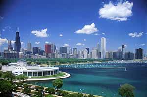 Illinois-Chicago Skyline with Shedd
