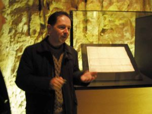 Jean Claude Conter of the Luxemburg tourist board with the original charter of the Grand Duchy in Luxemburg's National museum.