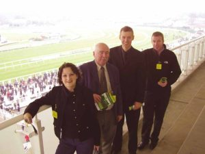Annette McGarry, Tony Griffin from Solar Travel, John Lally from the Merseyside Experience and Don Flynn at Aintree.