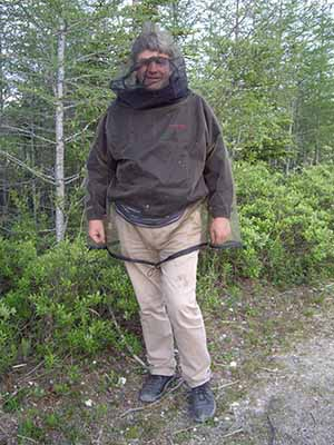 Travel Extra editor Eighan Corry battles with mosquitoes in sub-Arctic Canada, Churchill, Manitoba, July 6 2011, in a borel forest just at the fringe of the tree line