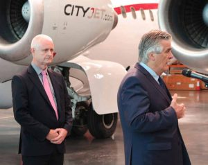 Pat Byrne (speaking, on right) and Cathal McConnell of Cityjet