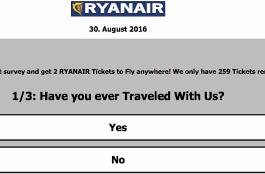 Ryanair warns customers of online ticket scam