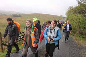 Historian Seamus Ó hUltacháin and Grainne O'Connor of Cavan County Council heritage office accompanying a group through the Cavan Burren, one of 30 events during This is Cavan Walking festival May 2-11 2014.