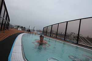 Eoghan Corry of Travel Extra samples the plunge pool on board AmaCerto on the Rhine, Nov 26 2014
