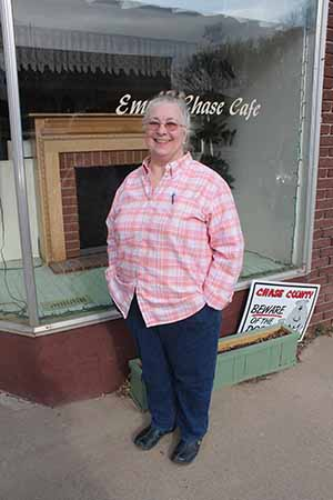 Sue Smith propreitor of Emma Chase Café in Cottonwood Falls, April 16 2014