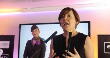Etihad Area General Manager Northern EuropeBeatrice Cosgrove speaking at the Etihad event at the All Ireland hurling final between Tipperary and Kilkenny with Joanne Walsh in the background, September 4 2016