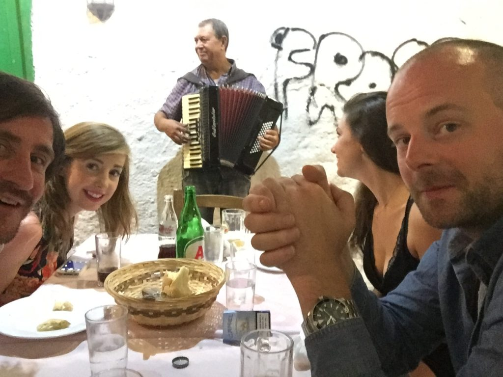 Tadhg Peavoy and companions dine at Ta Fanaria, Nafplio
