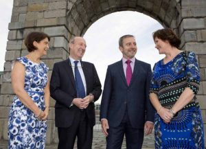 Orla Carroll, Director of Strategic Development Failte Ireland , Minister of Transport, Tourism & Sport Shane Ross TD, Paul Gallagher , Chairman of the Irish Tourist Industry Confederation and Emma Gorman, Digital Campaigns Manager with Tourism Ireland at the launch of Irish Tourism Industry Awards 2017.