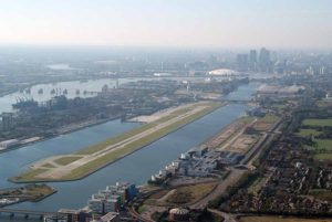 London City airport aerial view