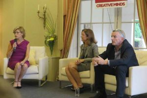 Margaret ward comperes the Creative Minds event at the US Ambassador's residence in Phoenix Park, Airline Innovation – Flying into the Future with Michael O'Leary, CEO of Ryanair, and Sheila Remes, Vice President of Strategy, Boeing Commercial Airplanes