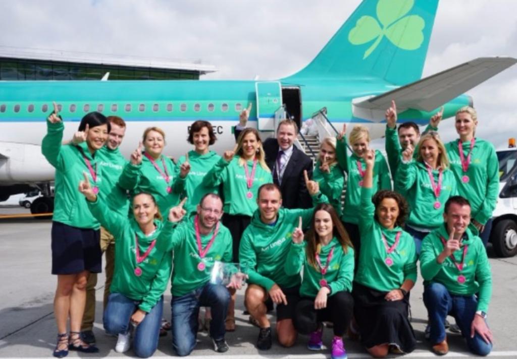 Aer Lingus team return home from winning the 2016 BUD:Runway Run