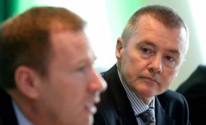 Aer Lingus Chief Executive Stephen Kavanagh and IAG Chief Executive Willie Walsh at the launch of Aer LIngus trans-Atlantic routes for 2016, October 21 2015