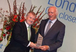 Declan Collier CEO of London City airport receiving the award for airport of the year at the CAPA aviation summit in Amsterdam, October 27 2016