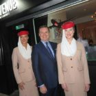 Enda Corneille country manager of Emirates with cabin crew Aoife Roche and Zoe Murphy