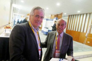 Pat Byrne Founder and CEO of Cityjet and Rigas Doganis of European Aviation Club at the PATA/ACTE aviation summit in Amsterdam, October 27 2016