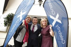 Jo Rzymowska of Celebrity Cruises Pat Ward of Dublin Port and and Lorraine Quinn of Celebrity cruises at the Celebrity cruise Dublin homeport announcement