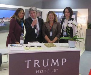 Mario Nino of Trump Hotels and Travel Extra editor Eoghan Corry with Sandy Dutra and Patricia Bickel of Trump Hotels at WTM 2016