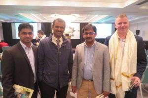 Paul Varghese, Vinod Pillai, Nivil Abraham and Shane Caslin of 747 Travel at the Kerala Tourism event in Dublin, Nov 10 2016