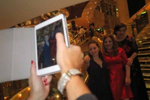 Antoinella Novak, Rebecca Kelly and Erica Oglesbyof MSC cruises being photographed on board MSC Fantasia during the ceremonial cruise for MSC All Stars of the Sea, November 14 2016