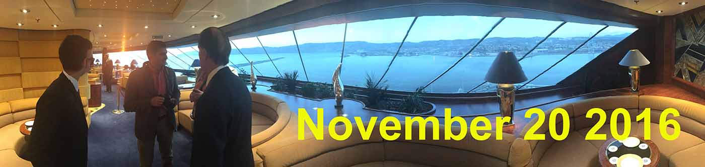 View from the Yacht Club lounge on board MSC Fantasia during the ceremonial cruise for MSC All Stars of the Sea, November 14 2016