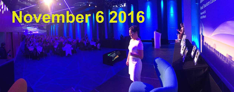 Margaret Jeffares speaking at the Tourroir Good Food Ireland awards in Croke Park, November 1 2016