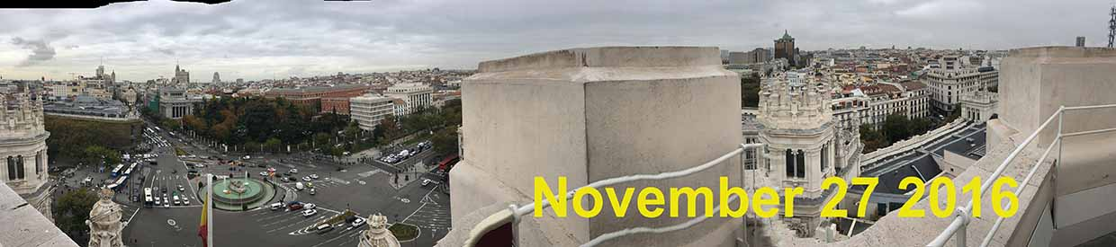 View of Madrid city from atop the Palace of Communications, November 23 2016