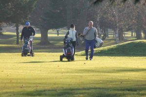 Peter O'Hanlon, Loraine Cunningham and Volker Lorenz playing during the TIGS outing sponsored by Travel Extra at The Castle gofl club, December 1 2016