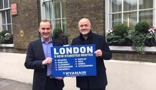 Andrew Cowan, Divisional CEO at London Stansted, and David O'Brien, Ryanair's Chief Commercial Officer, announcing a new growth deal at London Stansted Airport.