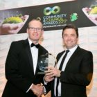 Free repro – please credit Paul Sherwood The Community and Council Awards 2017, held in the Crowne Plaza Hotel, Santry, Dublin. February 2017. National Impact Award - Ireland 2016 Centenary Programme Minister Simon Coveney and John Concannon from Ireland 2016 Programme, pictured at The Community and Council Awards 2017 presented by IPB Insurance and LAMA, which took place at a black tie gala dinner at the Crowne Plaza Hotel Northwood Dublin. The awards recognise and celebrate community and councils together, providing a fantastic opportunity to highlight and celebrate the outstanding work done within communities and to acknowledge unsung heroes. Ireland 2016 Centenary Programme was crowned with the National Impact Award. The programme was the Irish Government's programme to mark the centenary of the Easter Rising. With over 3,500 events taking place across the island of Ireland, and a further 1,000 overseas, the programme was the largest public history and cultural event ever undertaken by the State.
