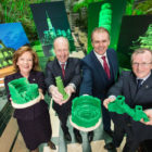 Joan O'Shaughnessy, Chairman of Tourism Ireland, Minister for Transport, Tourism and Sport, Shane Ross; Minister of State for the Diaspora and International Development, Joe McHugh; and Niall Gibbons, CEO of Tourism Ireland, at the launch of Tourism Ireland's Global Greening initiative 2017. Pic:Naoise Culhane