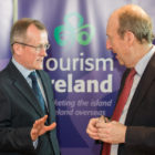 Niall Gibbons, CEO of Tourism Ireland, and Minister for Transport, Tourism and Sport, Shane Ross, at the launch of Tourism Ireland's Global Greening initiative 2017. Pic: Naoise Culhane