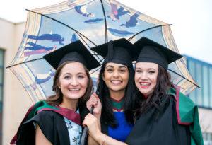 Carol O'Connell, Killarney Co Kerry, Trisha Bahri, India, and Edel McCarthy, Ballylanders, Co Limerick, after their graduation ceremony